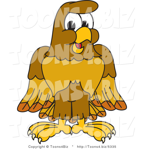 Vector Illustration of a Cartoon Hawk Mascot Character