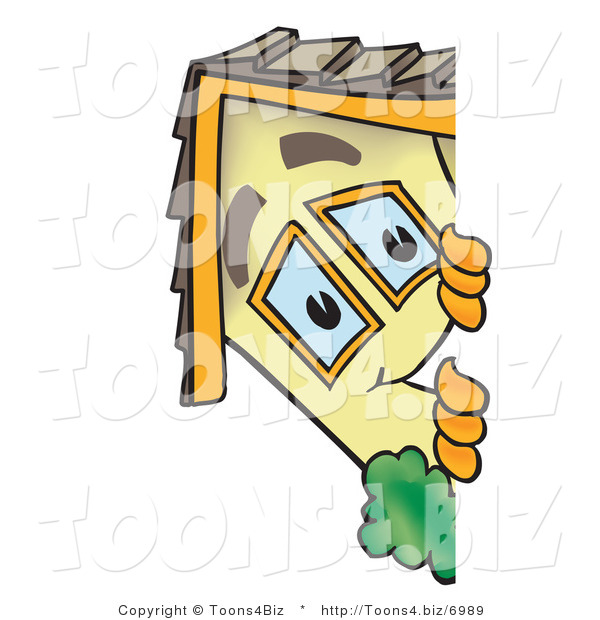 Vector Illustration of a Cartoon Home Mascot Looking Around a Blank Sign Area