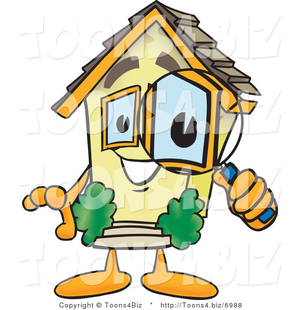 Vector Illustration of a Cartoon Home Mascot Looking Closely Through Magnifying Glass