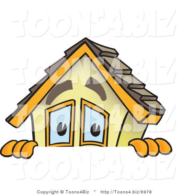 Vector Illustration of a Cartoon Home Mascot Peaking over Blank Sign Area