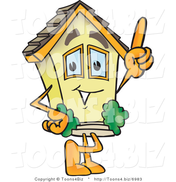 Vector Illustration of a Cartoon Home Mascot Pointing up