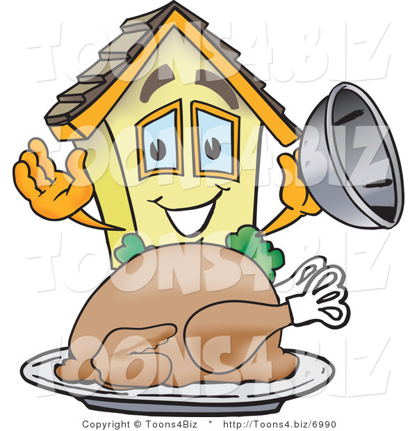 Vector Illustration of a Cartoon Home Mascot Serving Turkey on Thanksgiving