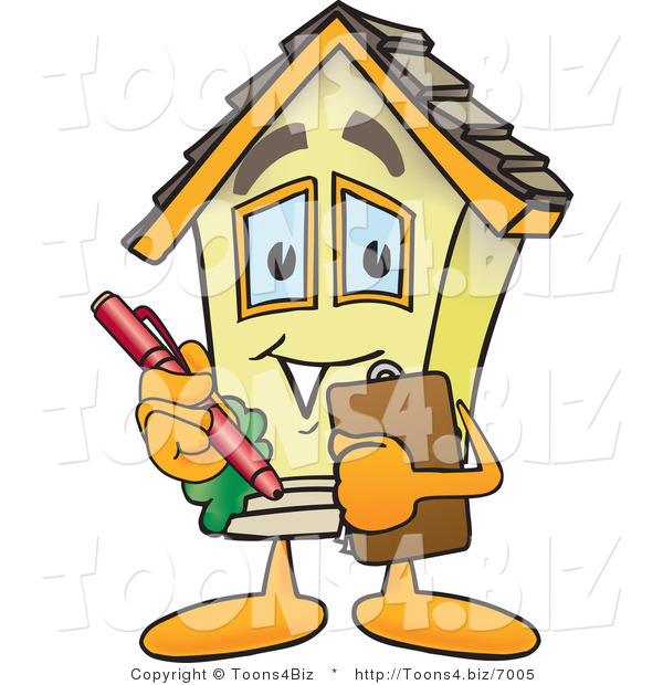 Vector Illustration of a Cartoon Home Mascot Talking Notes on Clipboard