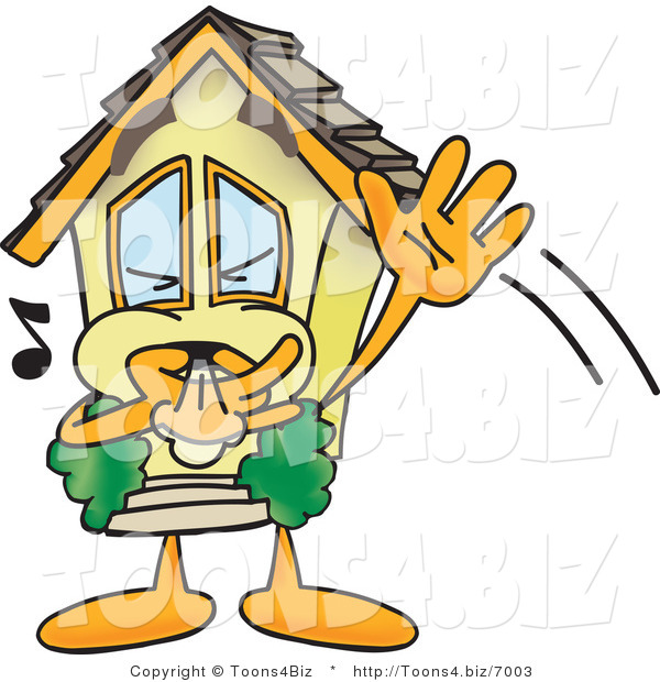 Vector Illustration of a Cartoon Home Mascot Waving and Whistling Trying to Get Attention