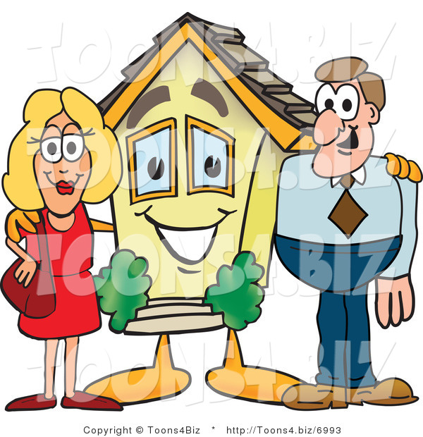Vector Illustration of a Cartoon House Mascot with New Home Owners