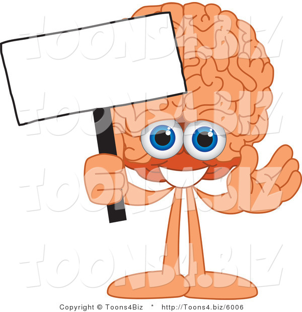 Vector Illustration of a Cartoon Human Brain Mascot Holding a Blank Sign
