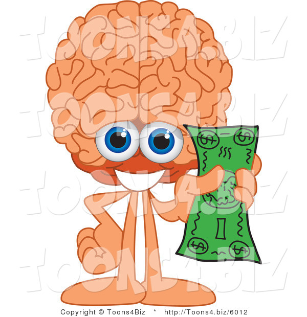 Vector Illustration of a Cartoon Human Brain Mascot Holding Cash
