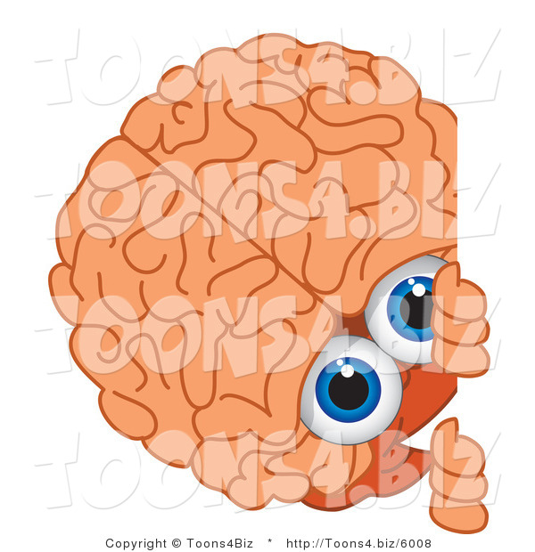 Vector Illustration of a Cartoon Human Brain Mascot Looking Around a Blank Sign