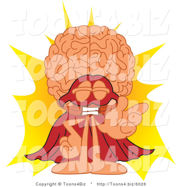 Vector Illustration of a Cartoon Human Brain Mascot Super Hero