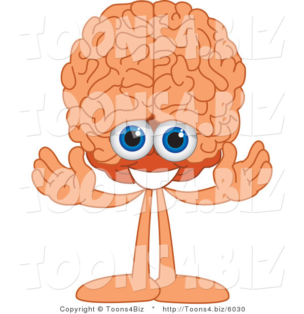 Vector Illustration of a Cartoon Human Brain Mascot Welcoming