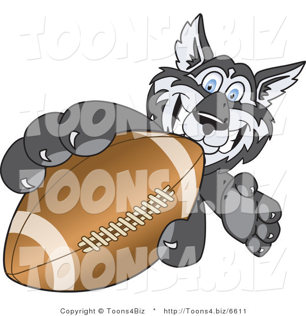 Vector Illustration of a Cartoon Husky Mascot Grabbing a Football