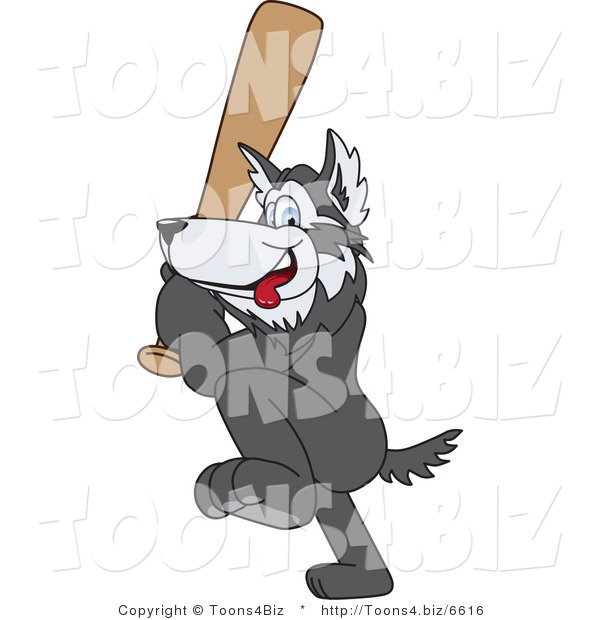 Vector Illustration of a Cartoon Husky Mascot Playing Baseball