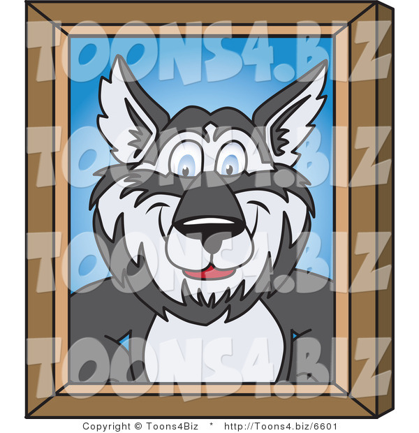 Vector Illustration of a Cartoon Husky Mascot Portrait