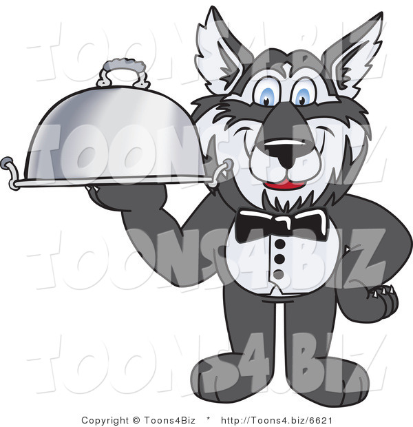 Vector Illustration of a Cartoon Husky Mascot Waiter Carrying a Platter