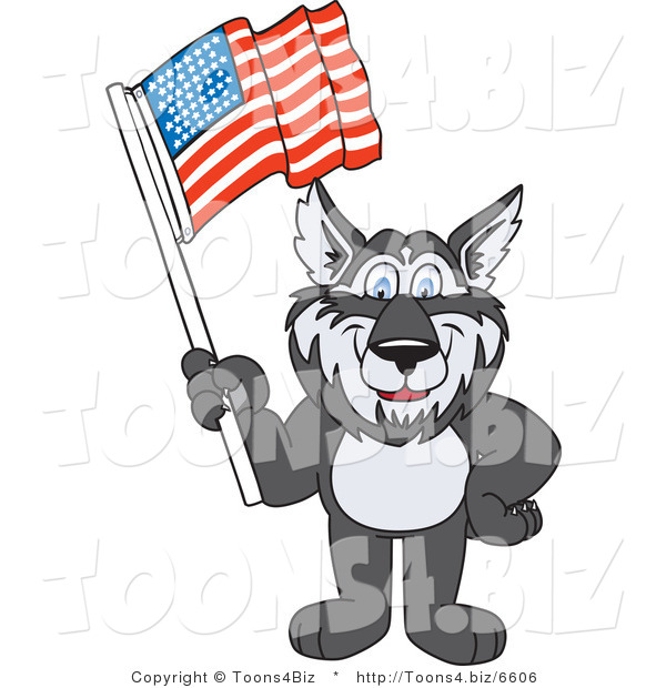 Vector Illustration of a Cartoon Husky Mascot Waving an American Flag