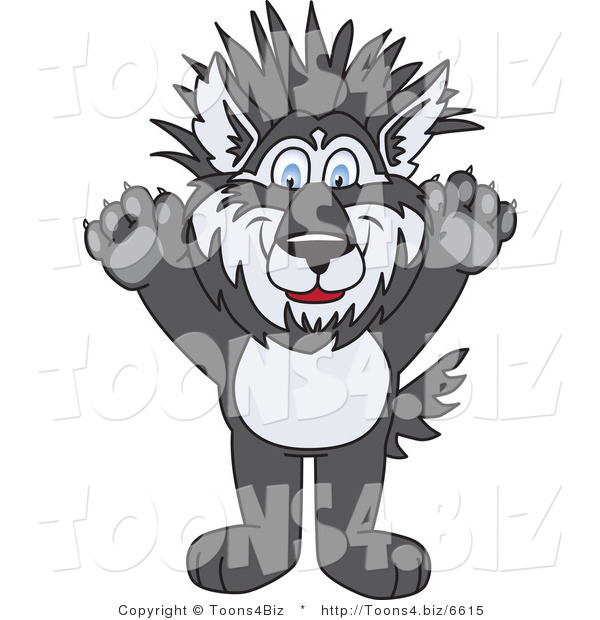 Vector Illustration of a Cartoon Husky Mascot with Spiked Hair