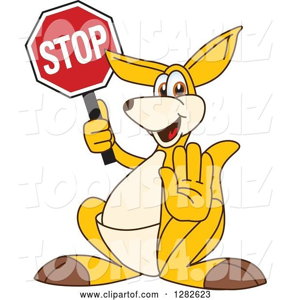 Vector Illustration of a Cartoon Kangaroo Mascot Gesturing and Holding a Stop Sign