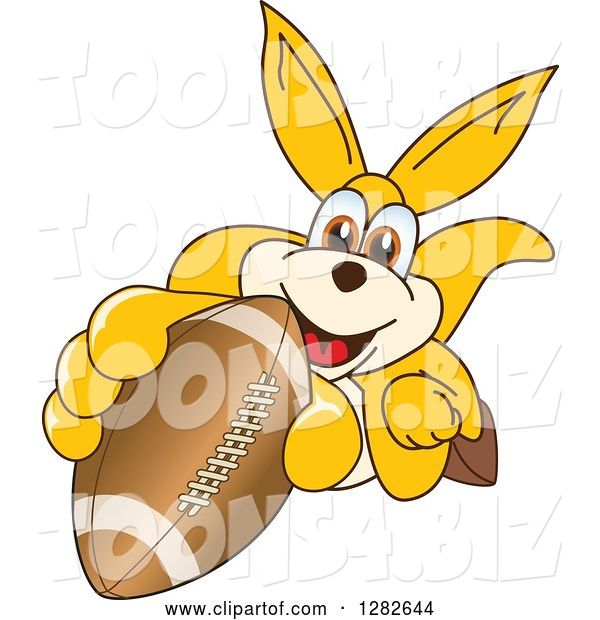 Vector Illustration of a Cartoon Kangaroo Mascot Holding up or Catching an American Football