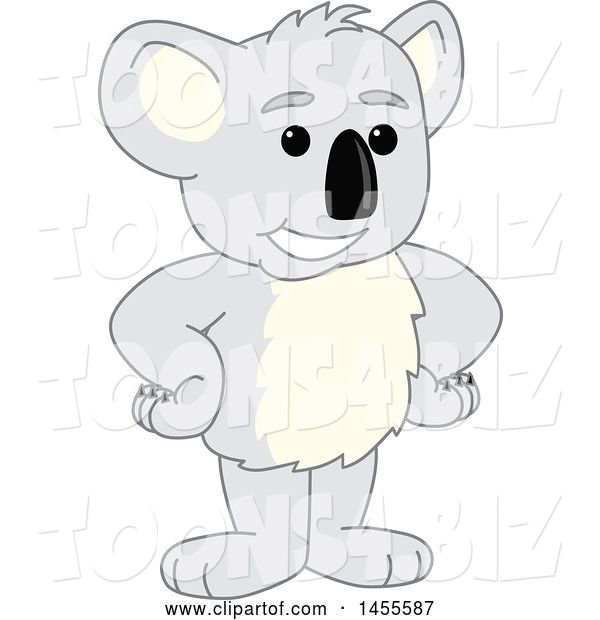 Vector Illustration of a Cartoon Koala Bear Mascot Standing with Hands on Hips