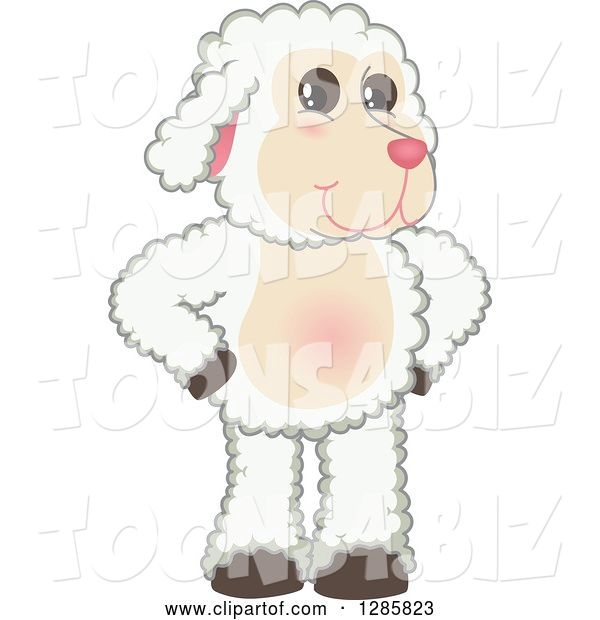 Vector Illustration of a Cartoon Lamb Mascot Standing with Hands on His Hips