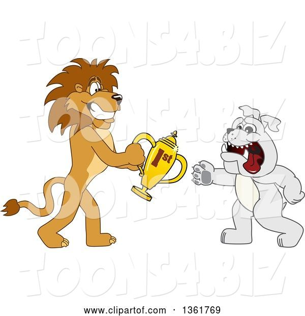Vector Illustration of a Cartoon Lion Mascot Giving a First Place Trophy to a Bulldog, Symbolizing Sportsmanship