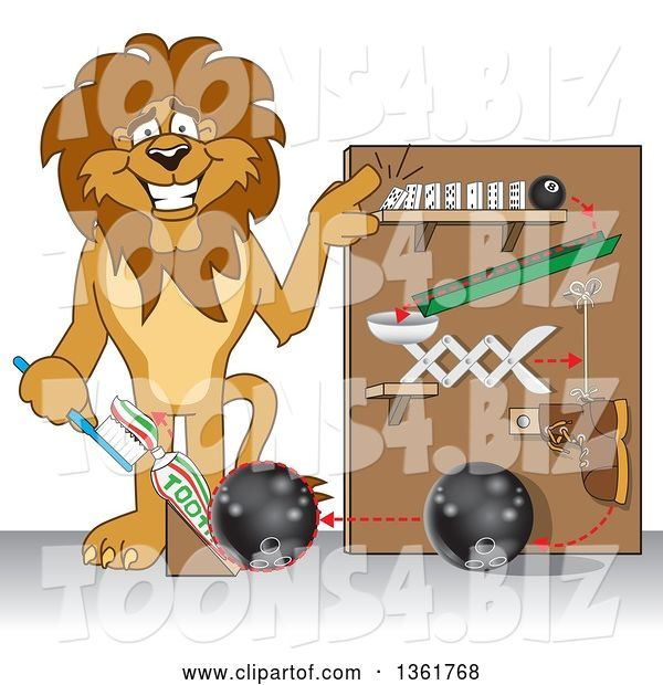 Vector Illustration of a Cartoon Lion Mascot Showing a Toothpaste Dispenser Invention, Symbolizing Being Resourceful