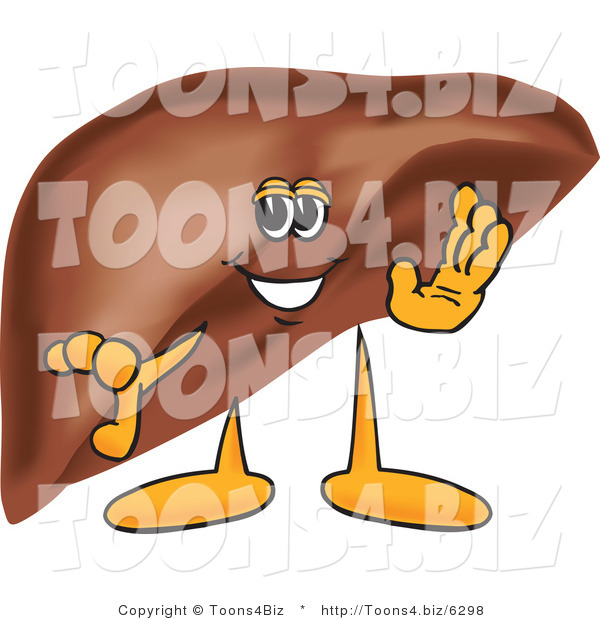 Vector Illustration of a Cartoon Liver Mascot Waving