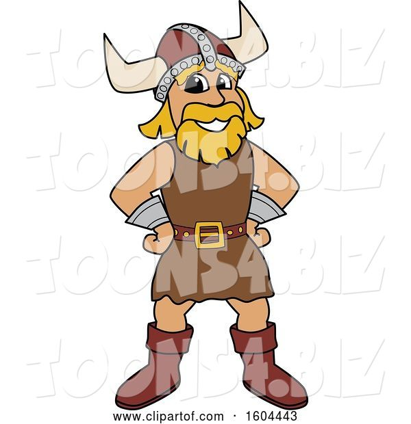 Vector Illustration of a Cartoon Male Viking School Mascot with Hands on His Hips