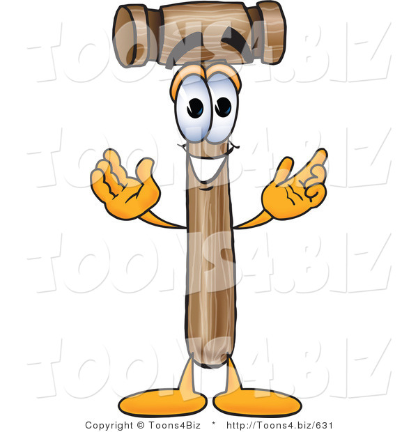Vector Illustration of a Cartoon Mallet Mascot with Welcoming Open Arms