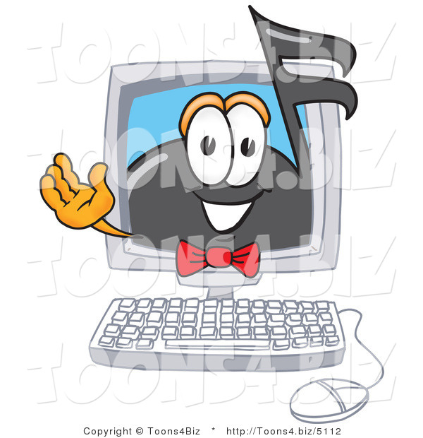 Vector Illustration of a Cartoon Music Note Mascot Waving from Inside a Computer Screen