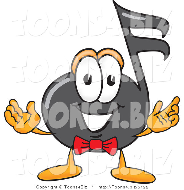 Vector Illustration of a Cartoon Music Note Mascot with Welcoming Open Arms