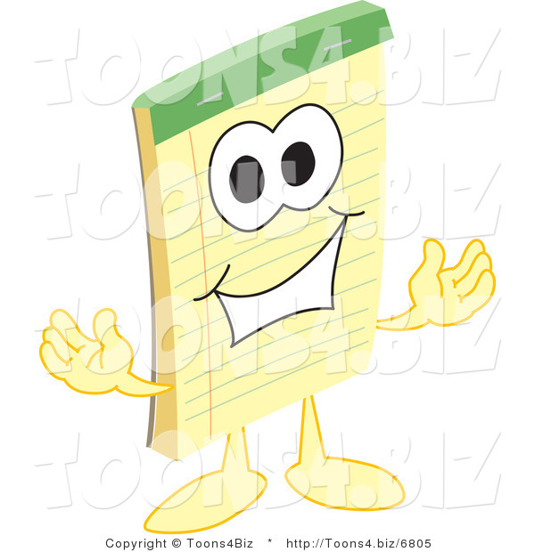 Vector Illustration of a Cartoon Notepad Mascot Welcoming