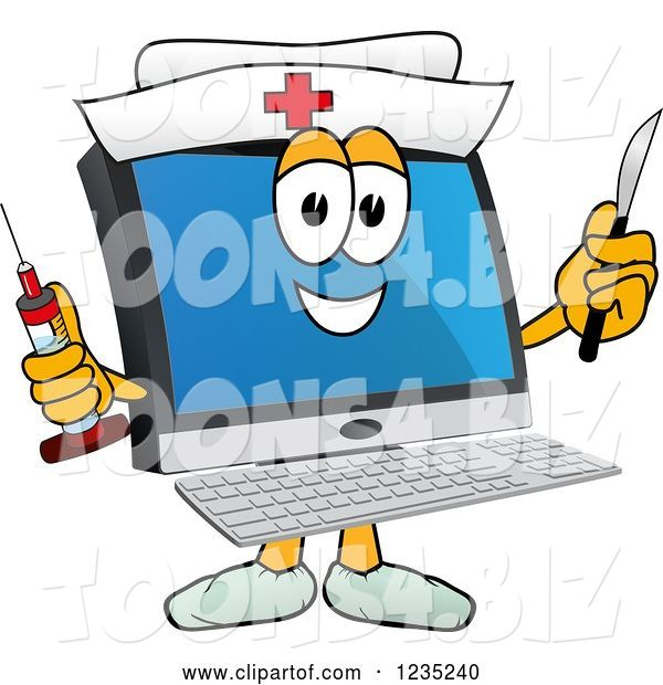 Vector Illustration of a Cartoon Nurse PC Computer Mascot Holding a Syringe and Scalpel