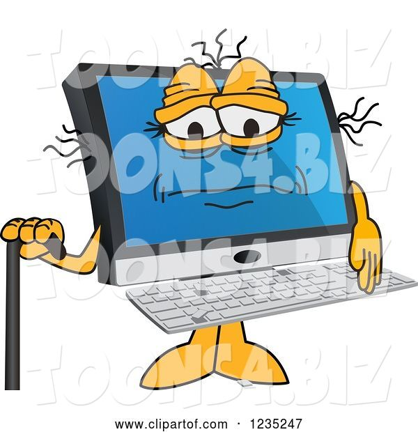 Vector Illustration of a Cartoon Old PC Computer Mascot with a Cane
