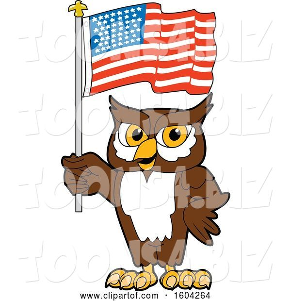 Vector Illustration of a Cartoon Owl School Mascot Holding an American Flag