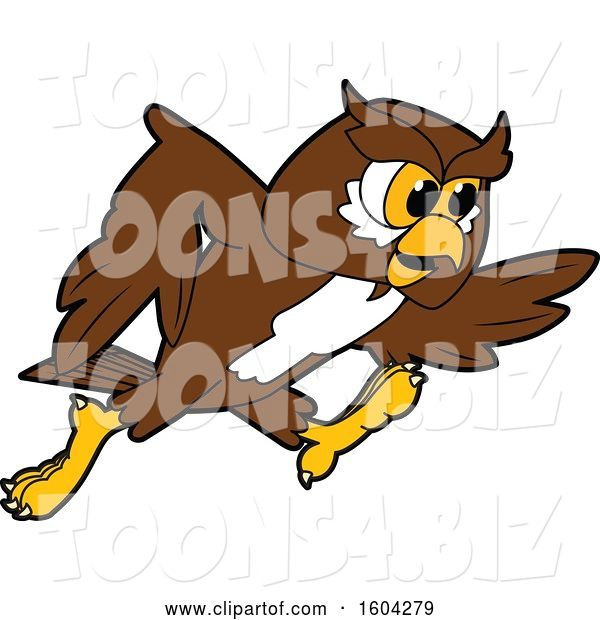 Vector Illustration of a Cartoon Owl School Mascot Running