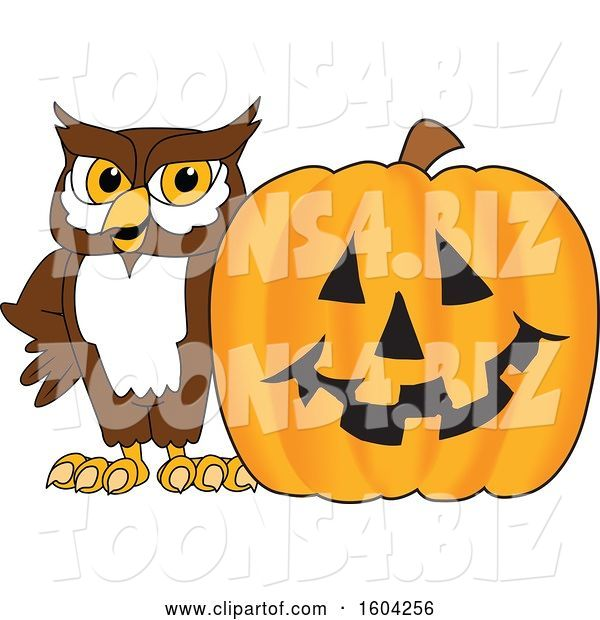 Vector Illustration of a Cartoon Owl School Mascot with a Halloween Pumpkin