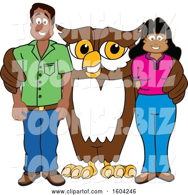 Vector Illustration of a Cartoon Owl School Mascot with Parents