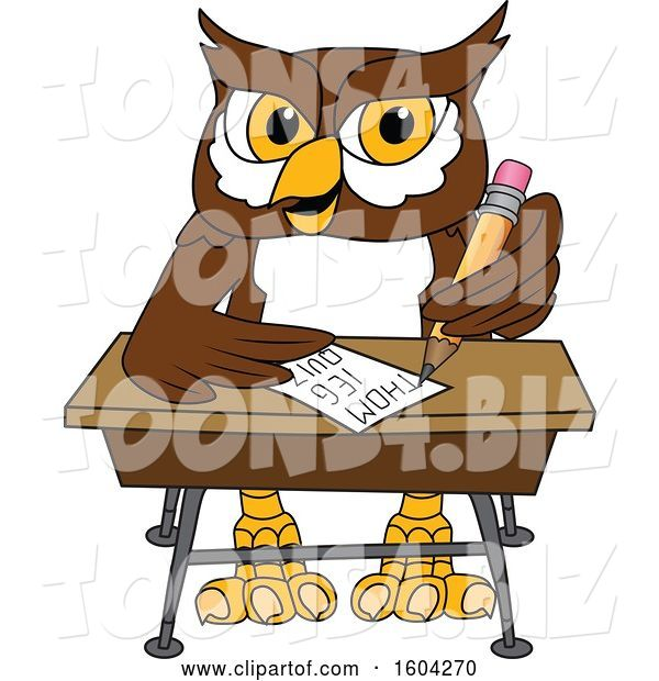 Vector Illustration of a Cartoon Owl School Mascot Writing at a Desk