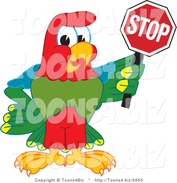 Vector Illustration of a Cartoon Parrot Mascot Holding a Stop Sign