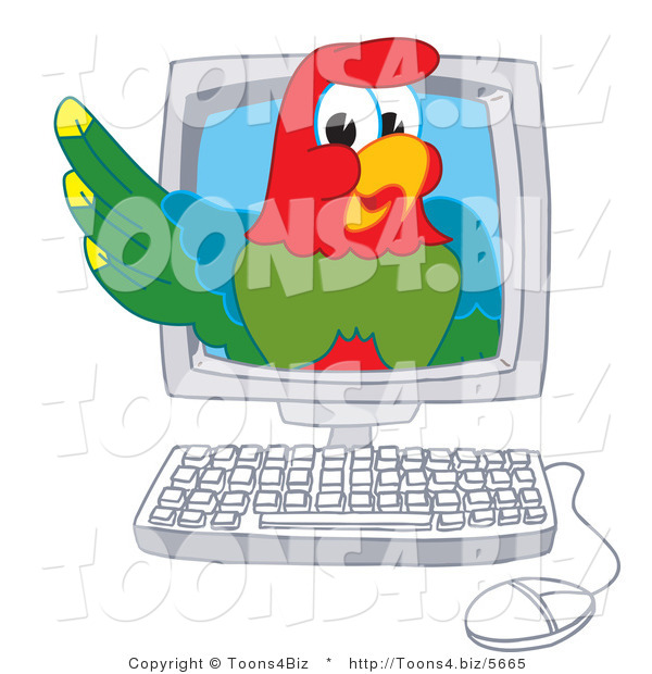 Vector Illustration of a Cartoon Parrot Mascot in a Computer