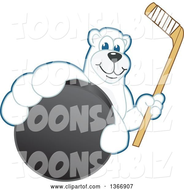 Vector Illustration of a Cartoon Polar Bear School Mascot Grabbing a Puck and Holding a Hockey Stick