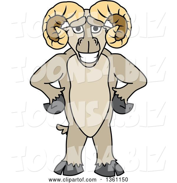 Vector Illustration of a Cartoon Ram Mascot Standing Upright with Hands on His Hips