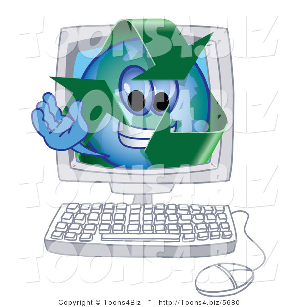 Vector Illustration of a Cartoon Recycle Mascot in a Computer