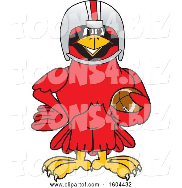 Vector Illustration of a Cartoon Red Cardinal Bird Mascot Football Player