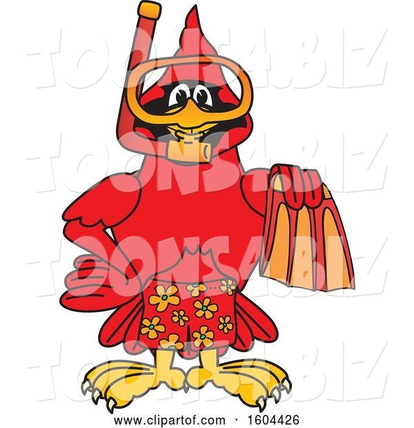 Vector Illustration of a Cartoon Red Cardinal Bird Mascot in Scuba Gear