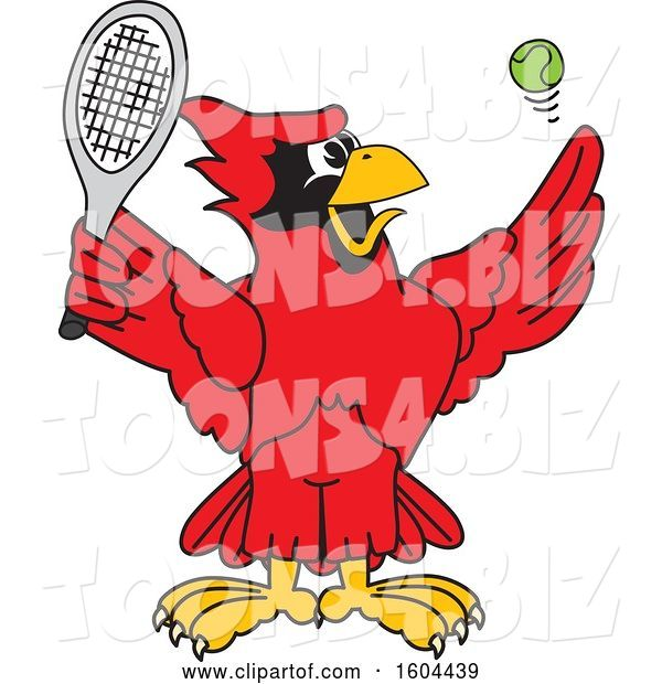 Vector Illustration of a Cartoon Red Cardinal Bird Mascot Playing Tennis