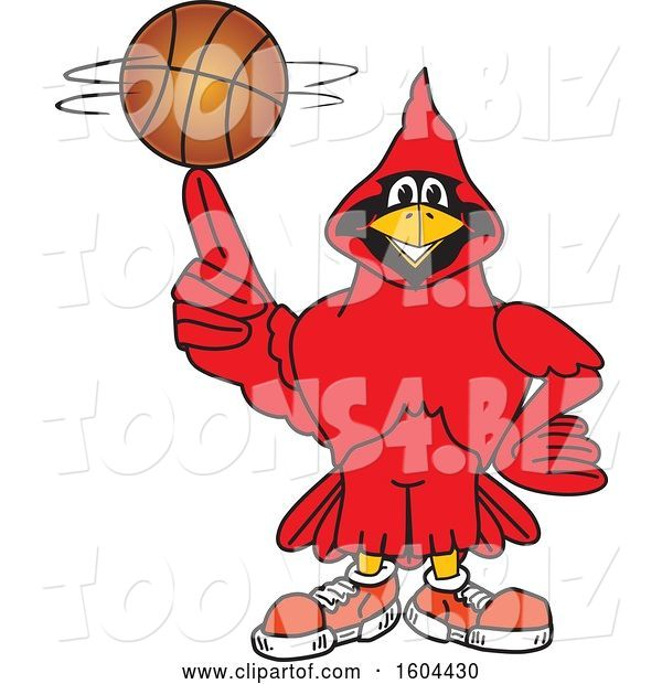 Vector Illustration of a Cartoon Red Cardinal Bird Mascot Spinning a Basketball