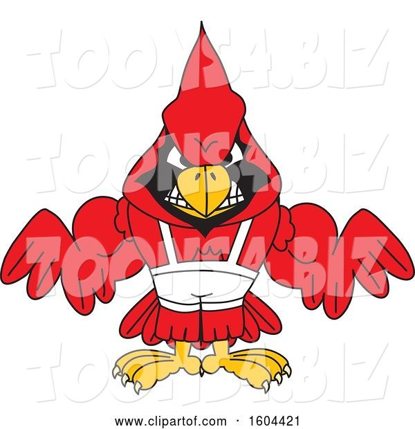 Vector Illustration of a Cartoon Red Cardinal Bird Mascot Wrestling