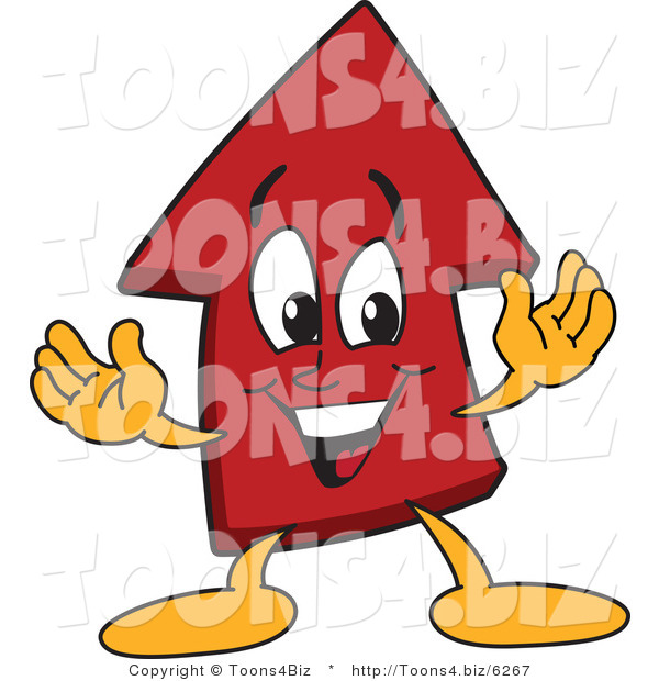 Vector Illustration of a Cartoon Red up Arrow Mascot